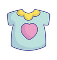 bashower little shirt with heart clothes icon vector image