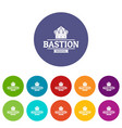 bastion medieval icons set color vector image vector image
