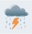 blue cartoon style raining icon with lighting vector image