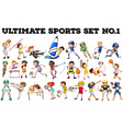 Boys and girls doing different sports vector image