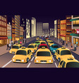 busy city in evening vector image vector image