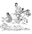 cartoon trotting horse outline vector image