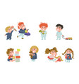 collection - cute babies playing with various toys vector image