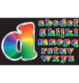 Colorful rainbow alphabet with silver frame vector image vector image