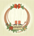 cowboy western christmas wreath with traditonal vector image vector image