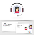 customer service support logo with business card vector image vector image