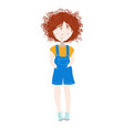 cute and happy child girl with curly red hair vector image vector image