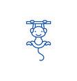 cute monkey line icon concept cute monkey flat vector image