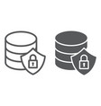 database protection line and glyph icon vector image vector image