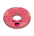 delicious donut dessert kawaii cartoon vector image vector image