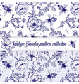 elegant vintage outline herbal pattern vector image