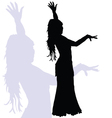 flamenco dance woman silhouette vector image