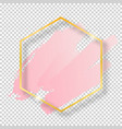 golden shiny vintage hexagon frame with brush vector image vector image