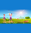 golfers playing golf on green field hitting ball vector image