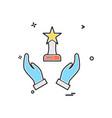 hand trophy reward icon design vector image