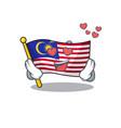 in love flag malaysia hoisted on cartoon pole vector image vector image
