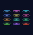light buttons glowing neon ui elements for online vector image vector image