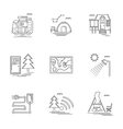 Linear icons set for camping vector image