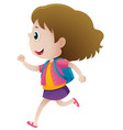 little girl with blue backpack running vector image vector image