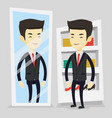 man trying on clothes in dressing room vector image