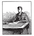 man writing or writing on board or on desk
