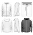 Mens zip hoodie design template vector image