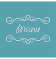 Menu cover design Abstract calligraphic frame vector image vector image