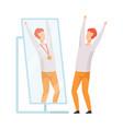 narcissistic man character looking at mirror and vector image vector image