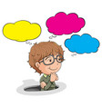 nerd boy with speech balloon vector image vector image