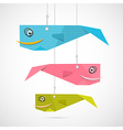 Paper Fish Hang on Strings vector image