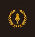 podcast logo design in vintage vector image vector image