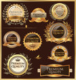 premium quality golden labels and medallions vector image vector image