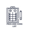 pros and cons list line icon concept pros and vector image vector image