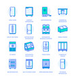 refrigerators flat line icons fridge types vector image