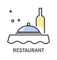 restaurant isolated outline icon wine bottle vector image