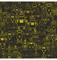 Robot and monsters seamless pattern vector image