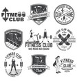 set fitness and skate board club concept vector image vector image