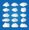 set of white clouds on a blue sky background vector image