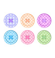 sewing buttons orange blue green purple pink red vector image vector image
