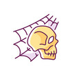 skull with spider web rgb color icon vector image