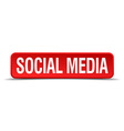 Social media red 3d square button isolated on vector image