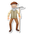 sticker template with a gardener old man holds vector image