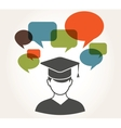 student with speech bubbles vector image vector image