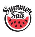 summer sale banner with bitten piece watermelon vector image vector image