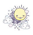 sun and clouds cartoons vector image