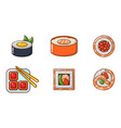 sushi icon set cartoon style vector image vector image