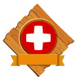 swiss flag design on round badge with banner vector image vector image