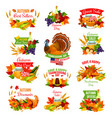 thanksgiving autumn isolated sale icons vector image vector image