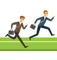 two businessmen running with briefcase business vector image vector image