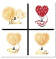 Valentines day gold greeting card vector image